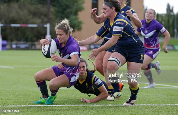 Ucy Nye of Loughborough Lightning scores a try during the Tyrrells Premier 15's match between Loughborough Lightning and Worcester Valkyries at...