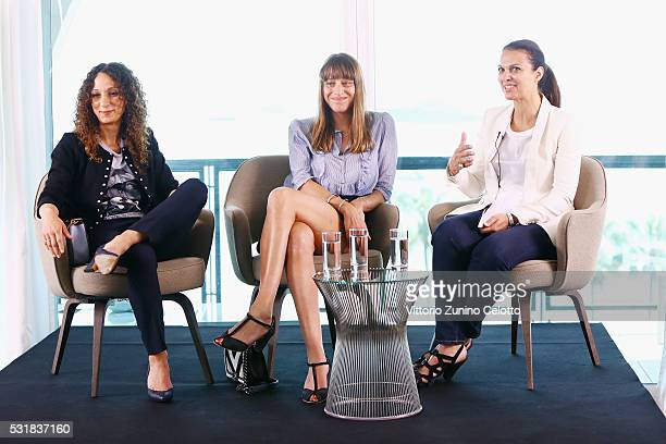 Uda Benyamina Alice Winocour and Isabelle Giordano attend Kering Talks Women In Motion At The 69th Cannes Film Festival on May 17 2016 in Cannes