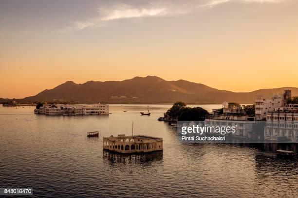 Udaipur Lake View with Taj Lake Palace, Rajasthan, India