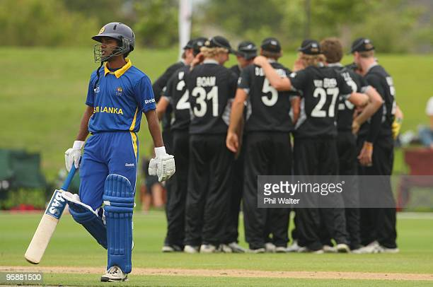 Udara Jayasundara of Sri Lanka walks off the field after being caight out by Michael Bracewell of New Zealand during the ICC U19 Cricket World Cup...