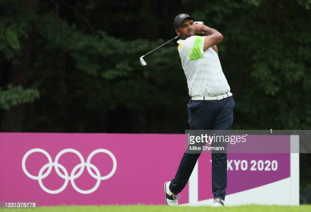 Udayan Mane of Team India plays his shot from the fourth tee during the second round of the Men's Individual Stroke Play on day seven of the Tokyo...