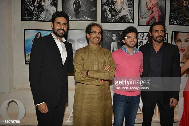 Uddhav Thackeray Abhishek Bachchan Arjun Rampal and Tejas Thackeray at Dabboo Ratnanis 2015 calender launch in Mumbai