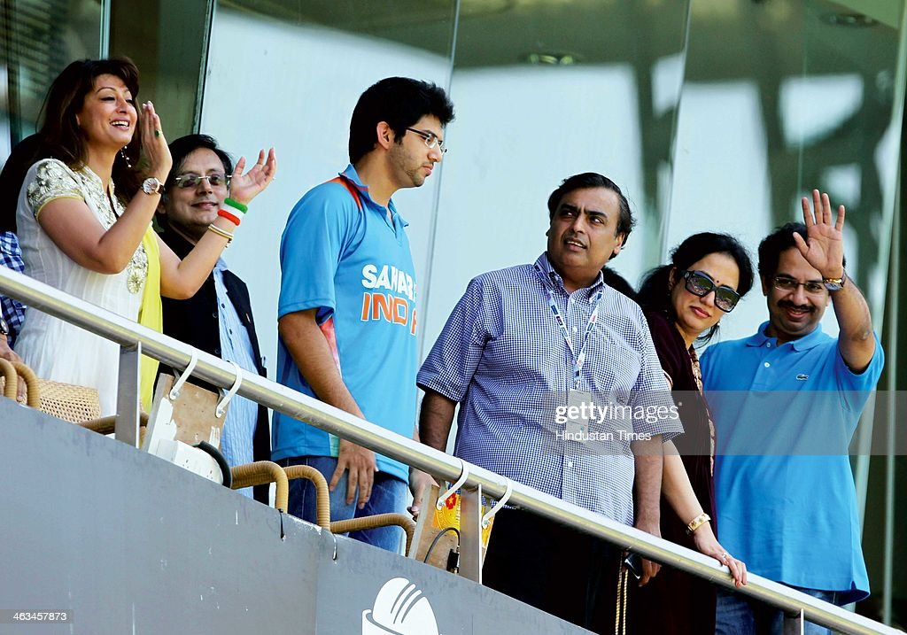 Uddhav Thackeray with his wife, Mukesh Ambani, Aditya Thackeray, Shashi Tharoor with wife Sunanda Pushkar cheer during the India vs Sri Lanka ICC World Cup final match on April 2, 2011 in Mumbai, India. Sunanda Pushkar, the 52-year-old industrialist wife of Union HRD minister Shashi Tharoor was found dead on Friday at a seven-star hotel where the couple had checked in together a day earlier, the police said. News of her death emerged late in the evening, coming within two days of her Twitter spat with a Pakistani journalist, Mehr Tarar, over an alleged affair with the minister. Pushkar, who has business interests in Dubai and was the Congress minister's third wife, was found dead in the bedroom of The Leela Palace suite number 345 around 8.15pm. Mehr Tarar, a columnist with Pakistan's Daily Times, reacted to the news of Pushkar's death in two consecutive tweets: What the hell. Sunanda. Oh my God and I just woke up and read this. Im absolutely shocked. This is too awful for words. So tragic I dont know what to say. Rest in peace, Sunanda.