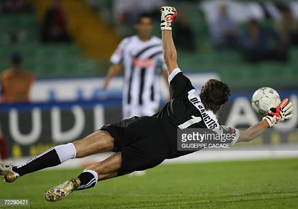 Udinese's goalkeper Morgan De Sanctis controls the ball during their Italian Seria A football match against Roma at Friuli stadium in Udine 28...
