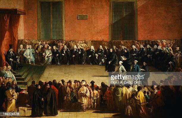 Udine, Musei Civici E Galleria Di Storia E Arte Antica Consilium in Arena by Giovanni Battista Tiepolo , oil on canvas, 125x193 cm.