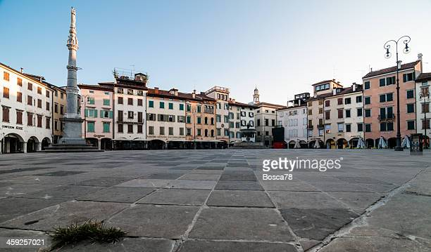 udine old city centre at dawn - udine stock photos and pictures
