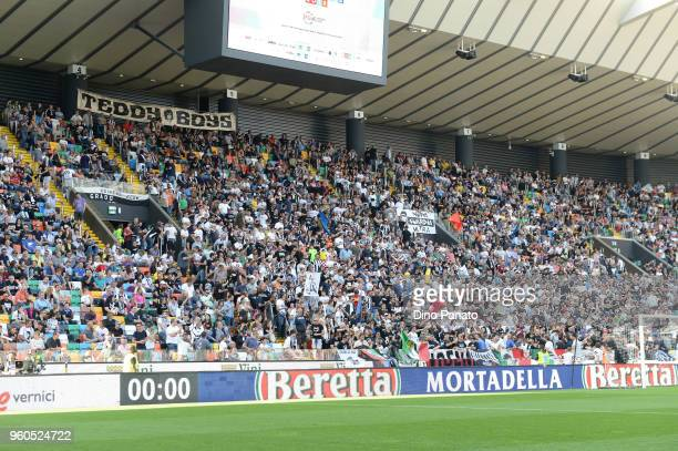 Udines fans show their support during the Serie A match between Udinese Calcio and Bologna FC at Stadio Friuli on May 20 2018 in Udine Italy