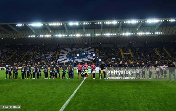 Udinese and FC Internazionale teams line up during the Serie A match between Udinese and FC Internazionale at Stadio Friuli on May 4 2019 in Udine...