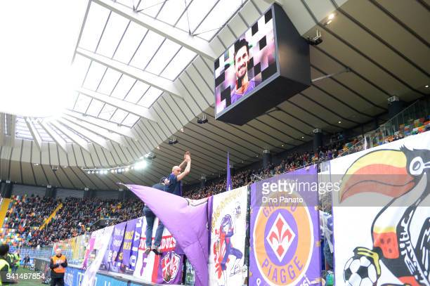 Udinese and Fiorentina fans shows their respects to Davide Astori during the serie A match between Udinese Calcio and ACF Fiorentina at Stadio Friuli...