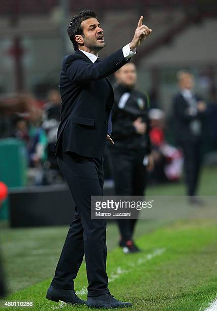 Udinese Calcio coach Andrea Stramaccioni issues instructions to his players during the Serie A match between FC Internazionale Milano and Udinese...