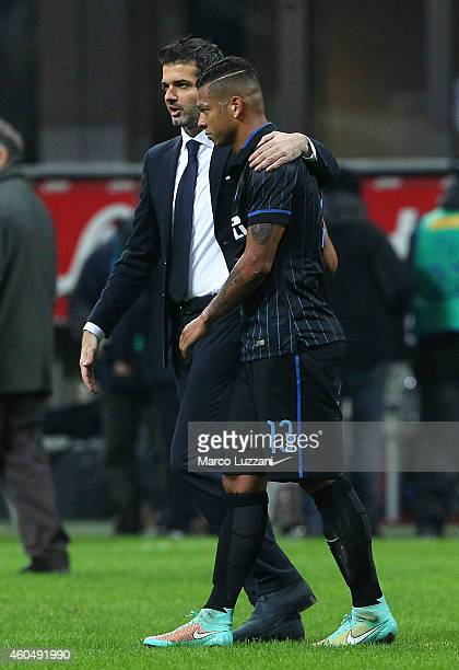 Udinese Calcio coach Andrea Stramaccioni speaks to Fredy Guarin of FC Internazionale Milano at the end of the Serie A match between FC Internazionale...