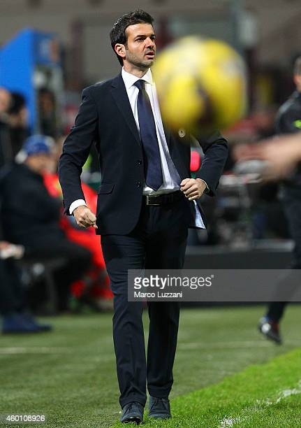 Udinese Calcio coach Andrea Stramaccioni watches the action during the Serie A match between FC Internazionale Milano and Udinese Calcio at Stadio...