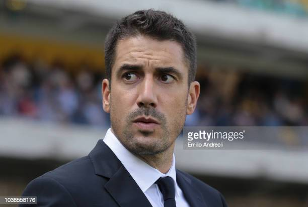 Udinese Calcio coach Julio Velazquez looks on before the serie A match between Chievo Verona and Udinese at Stadio Marc'Antonio Bentegodi on...