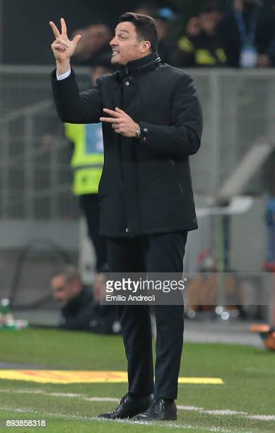 Udinese Calcio coach Massimo Oddo gestures during the Serie A match between FC Internazionale and Udinese Calcio at Stadio Giuseppe Meazza on...