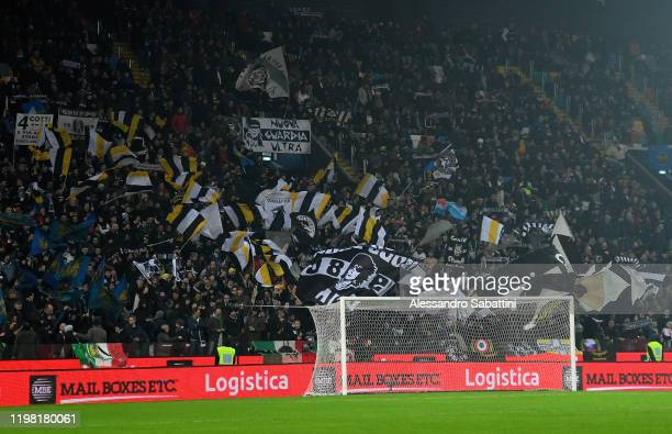 Udinese Calcio fans show their support during the Serie A match between Udinese Calcio and FC Internazionale at Stadio Friuli on February 2 2020 in...