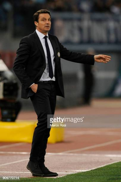 Udinese Calcio head coach Massimo Oddo during the Serie A match between SS Lazio and Udinese Calcio on January 24 2018 in Rome Italy