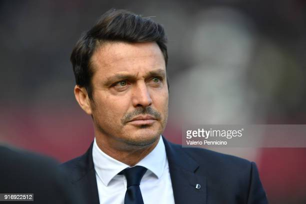 Udinese Calcio head coach Massimo Oddo looks on during the Serie A match between Torino FC and Udinese Calcio at Stadio Olimpico di Torino on...