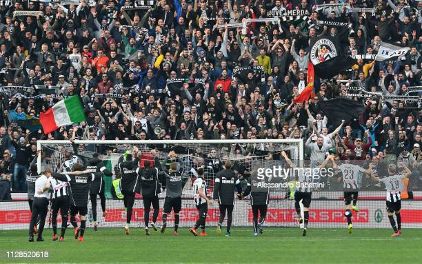 Udinese Calcio players celebrate the victory after the Serie A match between Udinese and Bologna FC at Stadio Friuli on March 3 2019 in Udine Italy
