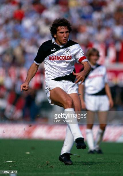 Udinese captain Zico in action during the Italian League match between AC Milan and Udinese held at San Siro Milan on 16th September 1984 The teams...