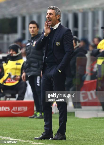 Udinese coach Luca Gotti shouts to his players during the Serie A match between AC Milan and Udinese Calcio at Stadio Giuseppe Meazza on January 19...