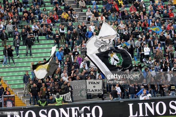 Udinese fans show their support during the Serie A match between Udinese Calcio and Cagliari Calcio at Stadio Friuli on October 6 2013 in Udine Italy