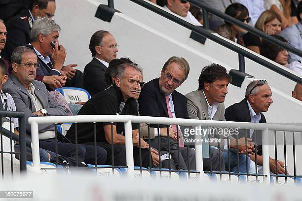 Udinese head coach Francesco Guidolin and Giampolo Pozzo President of Udinese Calcio during the Serie A match between AC Siena and Udinese Calcio at...