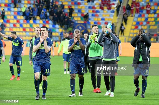 Udinese player celebrates a winner game the Serie A match between Frosinone Calcio and Udinese at Stadio Benito Stirpe on May 12 2019 in Frosinone...