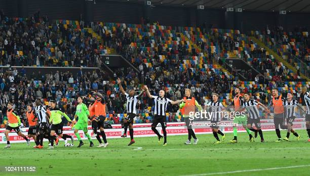 Udinese players celebrate the victory after the serie A match between Udinese and UC Sampdoria at Stadio Friuli on August 26 2018 in Udine Italy