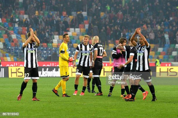 Udinese players celebrayte victory after the Serie A match between Udinese Calcio and Atalanta BC at Stadio Friuli on October 29 2017 in Udine Italy