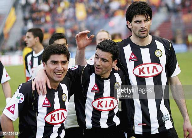 Udinese players David Pizarro Antonio Di Natale and Vincenzo Iaquinta celebrate after scoring during the Serie A match between Udinese and Lecce on...