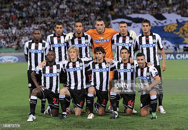 Udinese players pose for a team photo before the UEFA Champions League playoff match between Udinese Calcio and SC Braga at Friuli Stadium on August...