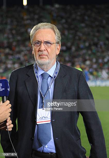 Udinese President Gianpaolo Pozzo looks on before the UEFA Champions League play-off match between Udinese Calcio and SC Braga at Friuli Stadium on...