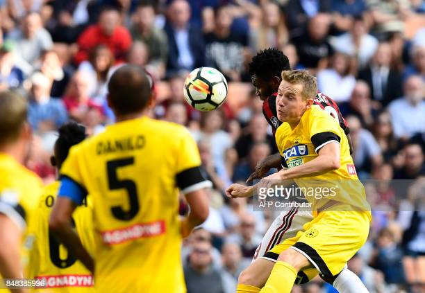 Udinese's Czechoslovakian midfielder Jakub Jankto vies with AC Milan's Ivoirian midfielder Franck Kessie during the Italian Serie A football match AC...
