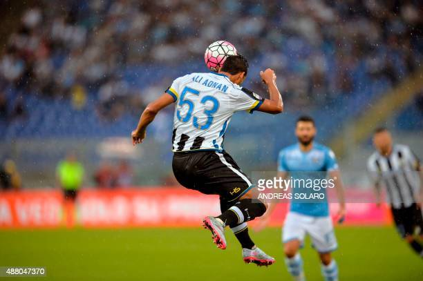 Udinese's defender from Iraq Ali Adnan Kadhim heads the ball during the Italian Serie A football match Lazio vs Udinese on September 13 2015 at...
