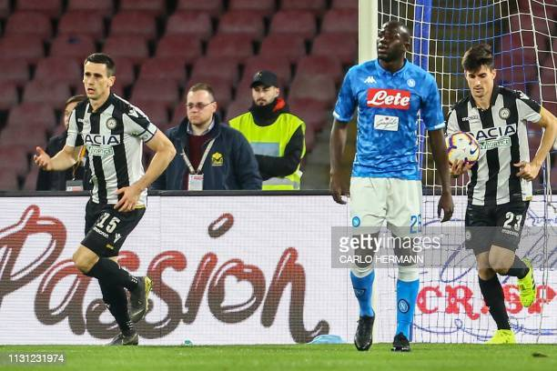 Udinese's Italian forward Kevin Lasagna reacts after scoring during the Italian Serie A football match Napoli vs Udinese at the San Paolo stadium in...