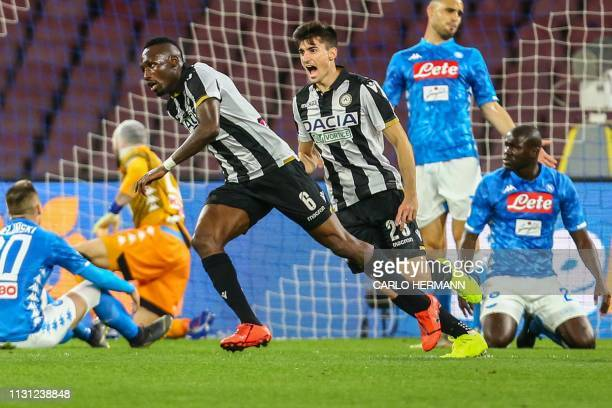 Udinese's Ivorian midfielder Seko Fofana celebrates after scoring during the Italian Serie A football match Napoli vs Udinese at the San Paolo...