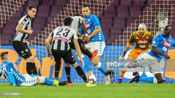 Udinese's Ivorian midfielder Seko Fofana scores during the Italian Serie A football match Napoli vs Udinese at the San Paolo stadium in Naples on...