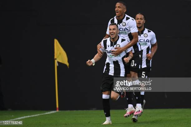 Udinese's Macedonian forward Ilija Nestorovski celebrates with teammates after scoring a goal during the Italian Serie A football match between...