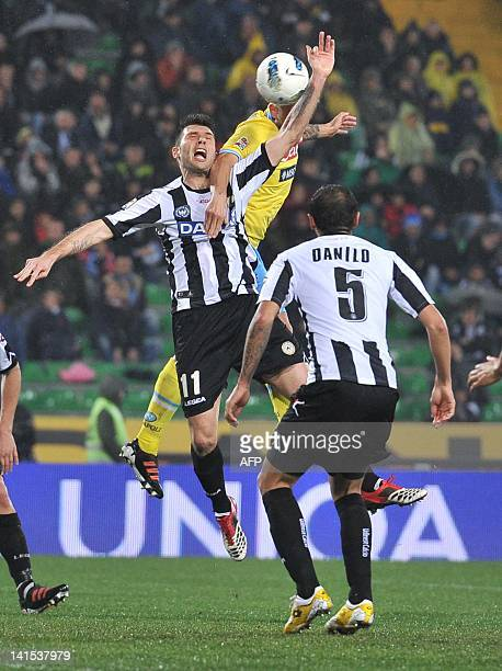Udinese's Maurizio Domizzi touches the ball with the hand to get a yellow card and a penalty fort Napoli during the Italian Serie A football match...