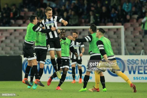 Udinese's Swedish midfielder Svante Ingelsson celebrates after scoring during the Italian Serie A football match SSC Napoli vs Udinese Calcio on...