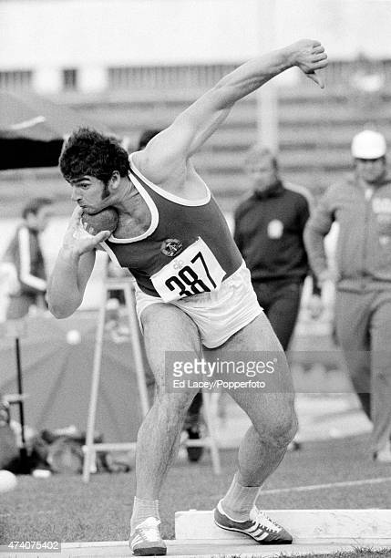 Udo Beyer of East Germany putting the shot during the European Athletics Championships at the Stadio Olimpico in Rome, circa September 1974.