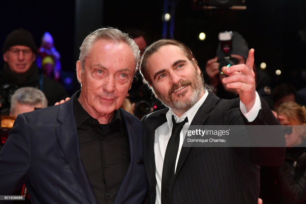 Udo Kier and Joaquin Phoenix attend the 'Don't Worry, He Won't Get Far on Foot' premiere during the 68th Berlinale International Film Festival Berlin at Berlinale Palast on February 20, 2018 in Berlin, Germany.