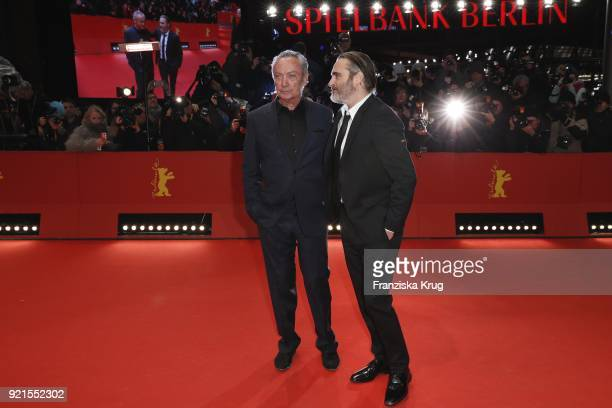 Udo Kier and Joaquin Phoenix attend the 'Don't Worry He Won't Get Far on Foot' premiere during the 68th Berlinale International Film Festival Berlin...