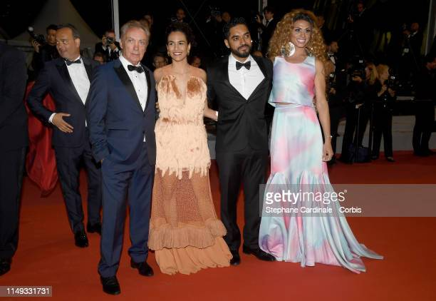 Udo Kier Barbara Colen Thomas Aquino and Silveiro Peirera attend the screening of Bacurau during the 72nd annual Cannes Film Festival on May 15 2019...