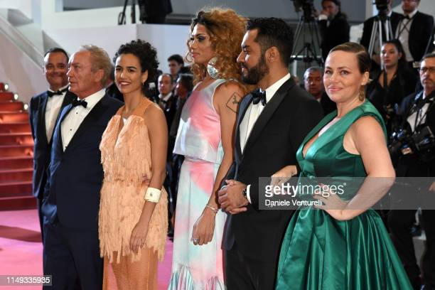 "Udo Kier, Barbara Colen, Thomas Aquino, Silveiro Peirera and guest attend the screening of ""Bacurau"" during the 72nd annual Cannes Film Festival on..."