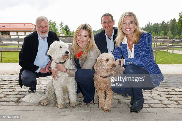 Udo Kopernik VDH press officer SkyModerator Jessica Kastrop as the New Ambassador for dogs 2016 Leif Kopernik CEO VDH and Moderator Nina Ruge during...
