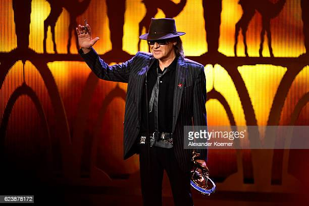 Udo Lindenberg acknowledges the applous on stage during the Bambi Awards 2016 show at Stage Theater on November 17 2016 in Berlin Germany