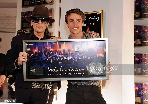 Udo Lindenberg and Clueso attend the awarding of Platinum for selling 1000 DVD's of 'MTV Unplugged From The Hotel Atlantic' at the Hotel Atlantic on...