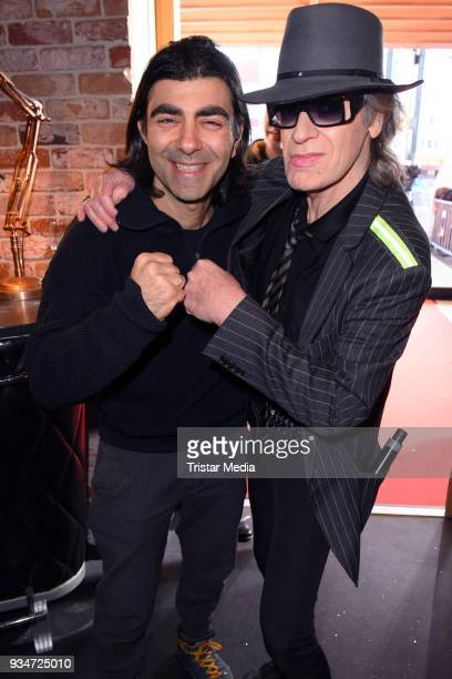 Udo Lindenberg and Fatih Akin during the opening of the 'Udo Lindenberg Experience Panik City' on the Reeperbahn on March 19 2018 in Hamburg Germany
