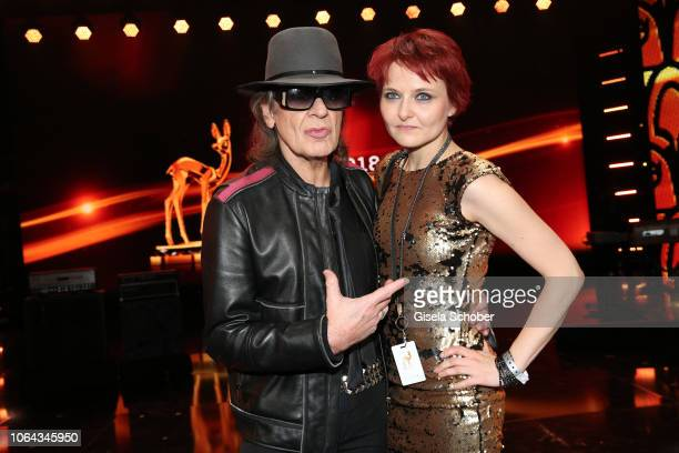 Udo Lindenberg and his girlfriend Tine Acke during the Bambi Awards 2018 final applause at Stage Theater on November 16 2018 in Berlin Germany
